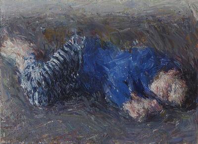 Daniel Enkaoua, 'Liel au sol en pyjama à rayures bleues', 2020