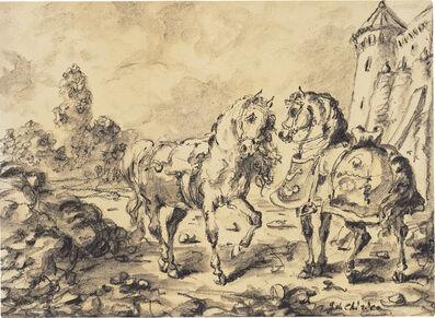 Giorgio de Chirico, 'Cavalli davanti ad un castello', the early 1940s