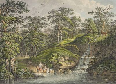 Philip-Heinrich Dunker, 'Peasant women and children washing laundry near a waterfall'