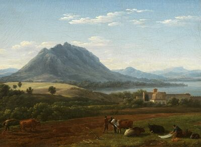 Jean Joseph Xavier Bidauld, 'An Arcadian landscape with figures and animals below Mount Soracte', 1791