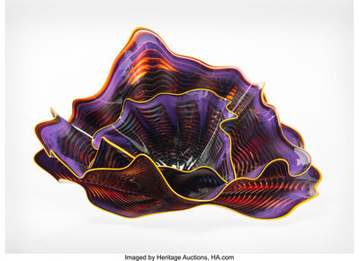 Dale Chihuly, 'Three-Piece Amethyst Persian Set with Orange Lip Wrap', 1989
