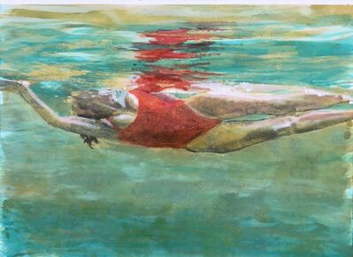"Carol Bennett, '""Effervescence"" Oil painting of a woman in a red suit swimming in turquoise water', 2018"