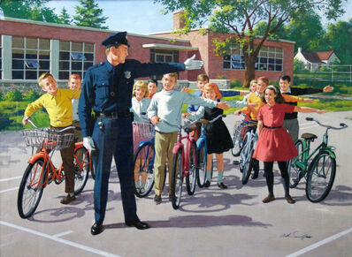 Arthur Sarnoff, 'Officer outside with kids ', ca. 1960