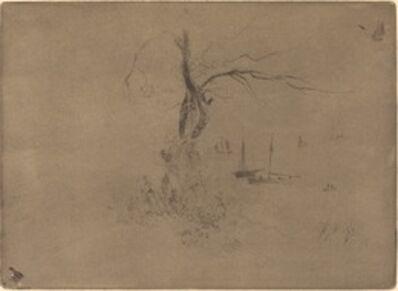 Félix Hilaire Buhot, 'Arbres et Bateaux (Trees and Boats)'