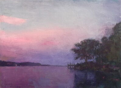 Larry Horowitz, '''Crepuscular Dusk''oil painting landscape with purple sunset over the lake.', 2019