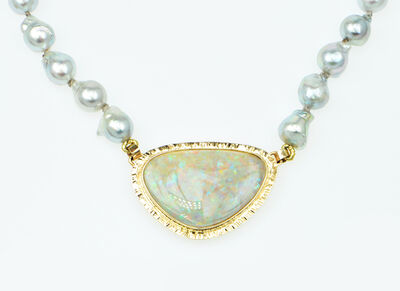 Michael Baksa, 'Clamshell Opal & Blue-grey Baroque Akoya Pearl necklace'