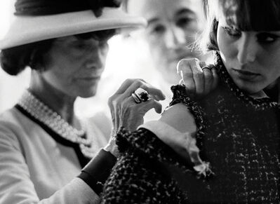 Douglas Kirkland, 'Mlle Chanel working with a model for the upcoming fashion presentation in the Atelier, House of Chanel, rue Cambon', 1962 [printed later]