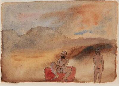 Tasaduq Sohail, 'Untitled (Man and woman in landscape)', Undated