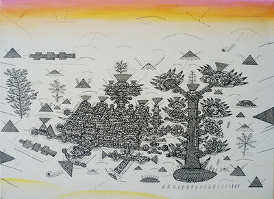 Shu-Kai Lin, 'The Balcony City Civillization-The factory welcoming  sunset and the skyscraper-tree waiting to grow', 2017