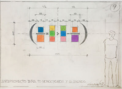 Horacio Zabala, 'Anteproyecto para 10 monocromos y 6 signos', 2018