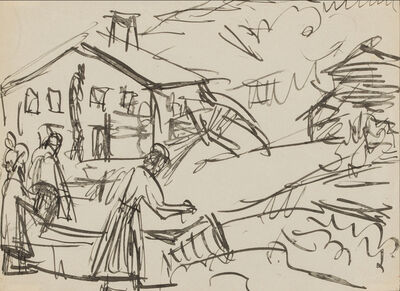 Ernst Ludwig Kirchner, 'Village Center with Fountain, Stafelalp', 1919-1920