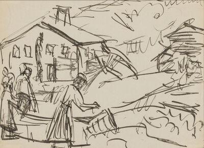 Ernst Ludwig Kirchner, 'Village Center with Fountain, Stafelalp', 1919-1920