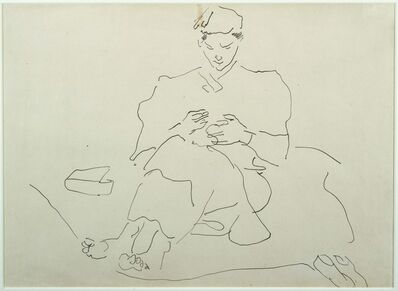 Henri Gaudier-Brzeska, 'Seated Figure Sewing'