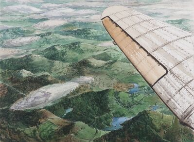 Rudolph Sauter, 'Birds eye view over the wing of an aeroplane (recto and verso)', ca. 1945