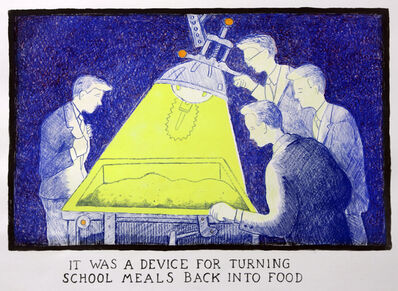Glen Baxter, 'It was a device for turning school meals back into food', 2012