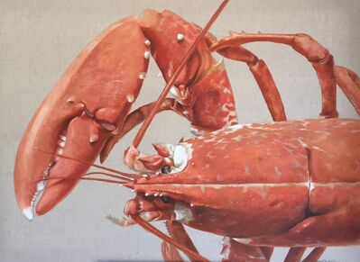 """Michel Brosseau, '""""Crusher"""" oil painting of a Red Lobster head and claw painted on exposed linen', 2017"""