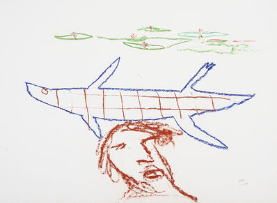 Sidney Nolan, 'Head with crocodile and waterlilies', 1984