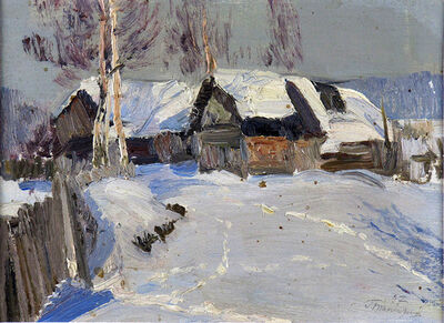 German Alexeevich Tatarinov, 'Gray Winter Homestead #64', ca. 1980