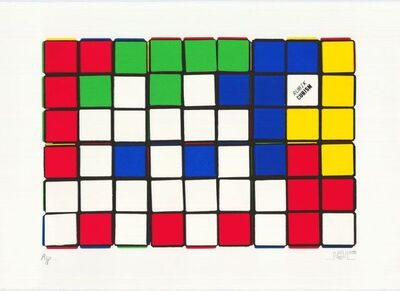 Invader, 'Rubik - Six Cubes (Blue and Yellow)', 2010