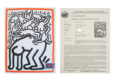 "Keith Haring, '""Untitled"", 1990, Lithograph, Edition of 1000, World Federation of the United Nations, Postmarked.', 1990"