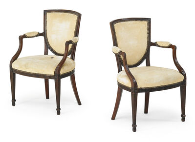 Style of George III, 'Pair Of George III Style Upholstered Armchairs', late 19th c.
