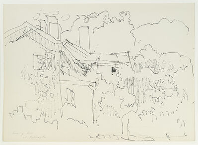"""Fairfield Porter, 'Study for """"House with Three Chimneys""""', ca. 1972"""