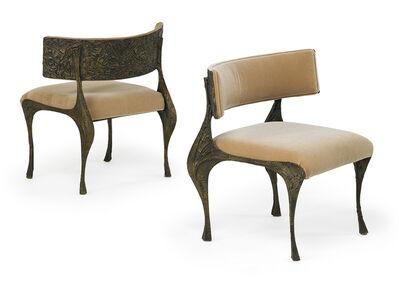 Paul Evans, 'Pair of Sculptured Metal low, wide side chairs', 1970s
