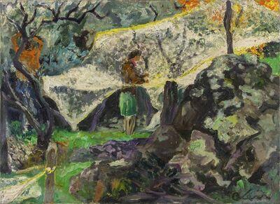 Carlo Levi, 'Reti d'olive, Giovanni e Iolanda davanti al Labirinto', 1972