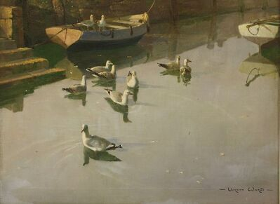 Vernon Ward, 'QUIET REFLECTIONS' - SEAGULLS AND BOATS IN A HARBOUR'