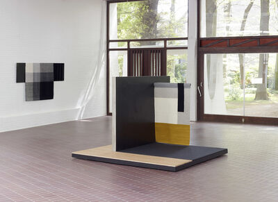 Andrea Zittel, 'centre: Planar Pavilion / left wall: Parallel Planar Panel (black, dark grey, light grey, off-white)', 2014