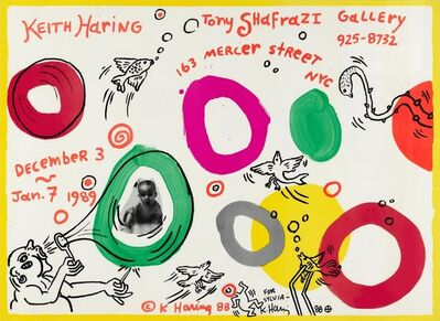 Keith Haring, 'Keith Haring at Tony Shafrazi Gallery (SIGNED Exhibition poster, with drawing)', 1988