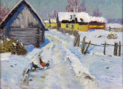 German Alexeevich Tatarinov, 'Yellow Cottages in Winter #67', ca. 1990