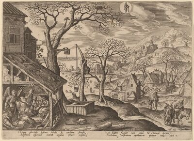 Adriaen Collaert, 'The Nativity and the Flight into Egypt (Aquarius)', 1585