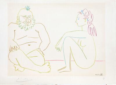 Pablo Picasso, '(Man and Woman Sitting.) Untitled from Suite de 15 dessins de Picasso. ', 1954