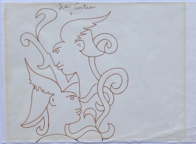 Jean Cocteau, 'Profiles with Helmuts', ca. 1960