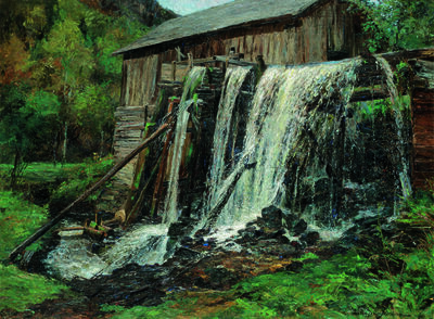Olga Wisinger-Florian, 'waterfall, mill at Hartenstein', 1905