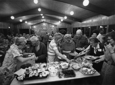 Bill Owens, 'Mobile Home Communities are no longer just trailer parks. We have a sense of stableness. We get together at the recreation center for monthly pot-luck dinners and for other activities. More important you have a neighbor to count on if you need help, from Our Kind of People series', ca. 1970's
