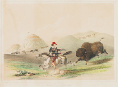 George Catlin, 'Buffalo Hunt, Chasing Back', 1844-1845