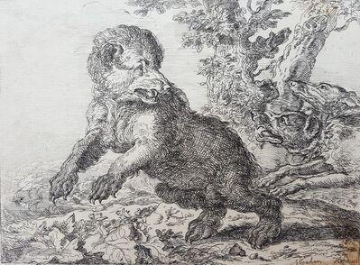 Abraham Hondius, 'Honden Jagen Op Een Beer (Hounds Hunting a Bear)', 1676