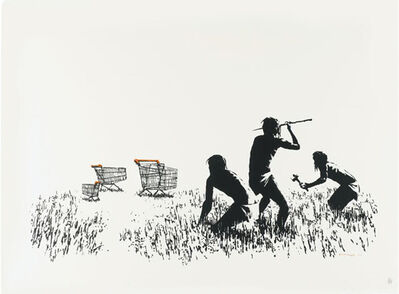 Banksy, 'Trolley Hunters B&W', 2007