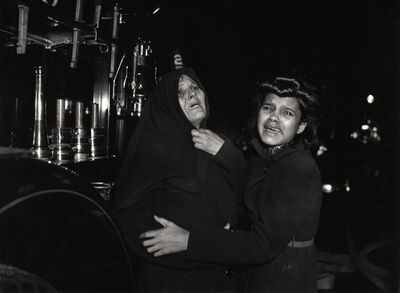 "Weegee, '""I Cried When I Took This Picture,"" Ms. Henrietta Torres and Her Daughter Ada Watch as Another Daughter and Her Son Die in Fire', December 15, 1939, printed 1981"