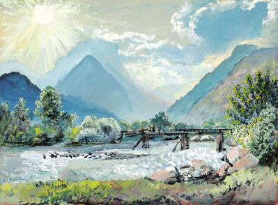 Oskar Laske, 'View over the river Saalach to the Loferer Steinberge', 1943