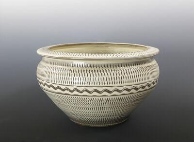 Onda Yaki, 'Large Bowl with Tobikanna (Blade Skip) Design', n/a