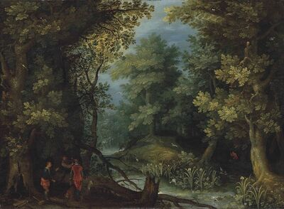 Jan Brueghel the Elder, 'Hunters with hounds by a stream in a wooded landscape'