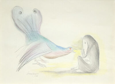 Leonora Carrington, 'Woman with Bird', 1978