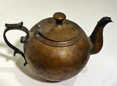 Antique-historical artist unknown, 'Scarce Southern 18th C American hammered brass teapot found in Virginia', 1750s-1820s