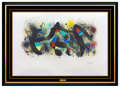 Joan Miró, 'Joan Miro Ceramiques Color Lithograph Hand Signed Abstract Modern Art', 1974