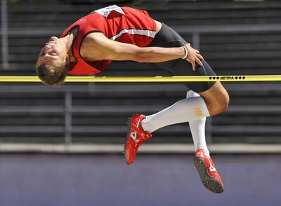 Rainer Martini, 'High jump, Bavarian Track and Field Championships, Passau, Bavaria', 2011