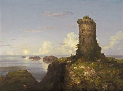 Thomas Cole, 'Italian Coast Scene with Ruined Tower', 1838