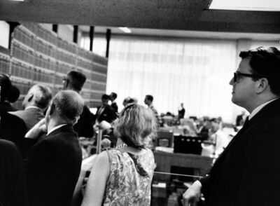 Garry Winogrand, 'Investor Richard Rapek Among Other Stockholders Reading the Latest Prices at Merrill Lynch Office, NYC', 1966